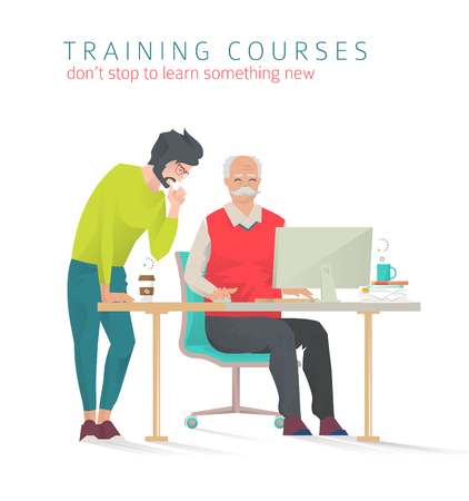 Concept of training courses for all ages. Never too late to start study something new. Young man train and help senior man or vice versa. Vector flat illustration.