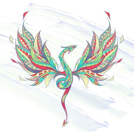 Patterned flying dragon on the grunge background. Reptile. Tattoo design. Stock Illustratie