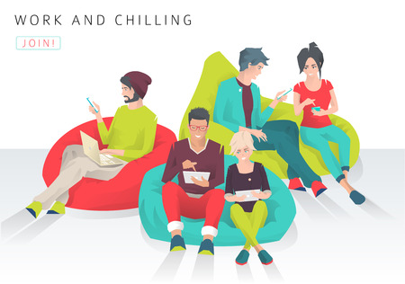 Young people sit on bean bag with different gadgets and exchange ideas. Discussion and chilling. Modern flat vector illustration Çizim