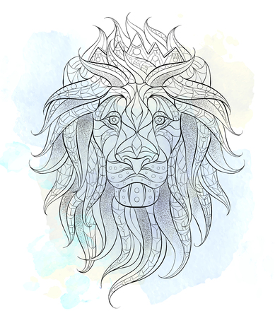 Patterned head of the lion on the grunge background. Leo with crown. African,  indian, totem, tattoo design. It may be used for design of a t-shirt, bag, postcard, a poster and so on. Illustration