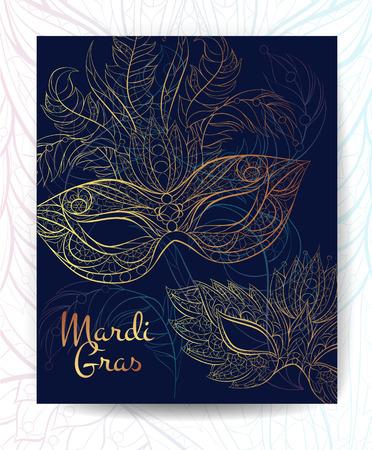 Patterned mask. Mardi Gras festival. Broshure, poster, flyer template. 矢量图像