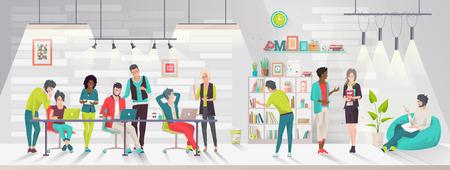 Concepto del centro de coworking. Reunión de negocios. Equipo multicultural. Entorno de trabajo compartido. Gente hablando y trabajando en las computadoras en la oficina de espacio abierto. Diseño plano. Ilustración de vector