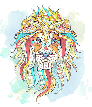 Patterned head of the lion on the grunge background. Leo with crown. African,  indian, totem, tattoo design. It may be used for design of a t-shirt, bag, postcard, a poster and so on. Ilustração