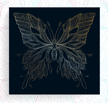 Patterned butterfly. Ornate moth. Papillon. Tattoo design. It may be used for design of a t-shirt, bag, postcard, a poster and so on.