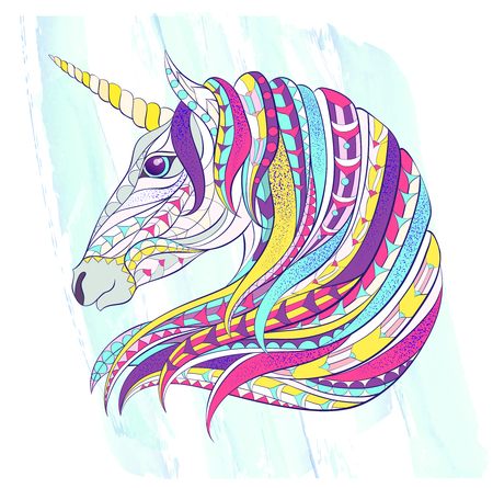 Patterned head of the unicorn on the grunge background. Space horse. Tattoo design.