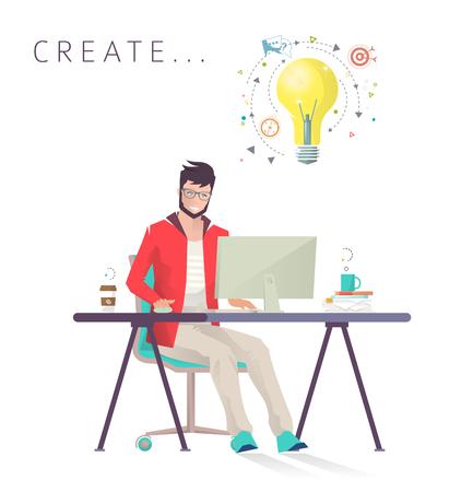 Man works on computer. Designer. Creative process. Business, office work, workplace. Flat design vector illustration. Çizim