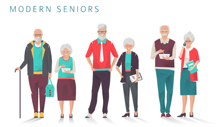 Set of modern senior business people with different gadgets. Old progressive people use modern technology. Vector illustration.