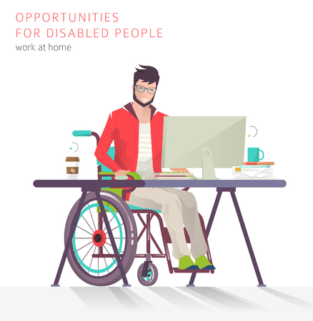Concept of man with disabilities working with notebook. Communication over the network. Vector flat illustration