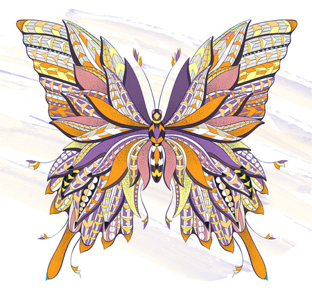 Patterned butterfly on the grunge background. Ornate moth. Papillon. Tattoo design. It may be used for design of a t-shirt, bag, postcard, a poster and so on.