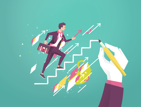 Business concept. Hand is drawing a ladder to lead young upcoming businessman. Geometry. Vector flat illustration.