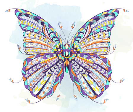 Patterned butterfly on the grunge background. Ornate moth. Papillon. Tattoo design. It may be used for design of a t-shirt, bag, postcard, a poster and so on. Imagens - 74424534