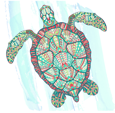 Patterned turtle on the grunge background. Ornate reptile. Symbol of longevity. Tattoo design. It may be used for design of a t-shirt, bag, postcard, a poster and so on.