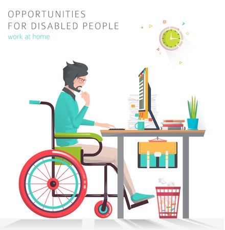 Concept van man met een handicap die werkt met een notitieboekje. Communicatie over het netwerk. Vector platte illustratie
