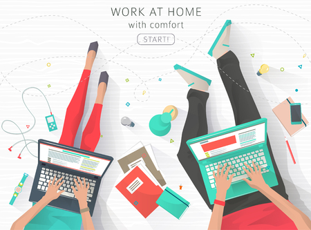laptop keyboard: Concept of working at home. Relaxation. Work wherever you want with pleasure. Creating ideas. E-learning. Freelance. Flat vector illustration.