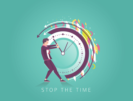 Business concept. Businessman trying to stop the time. Geometric elements. Vector flat illustration.