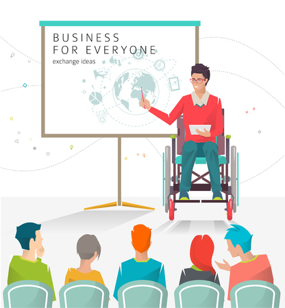 Concept of man with disabilities holding presentation. Disabled man read lecture. Conference. Vector flat illustration
