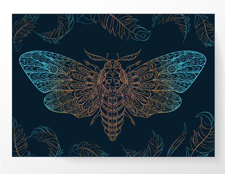 Deaths-head hawkmoth. Patterned moth on the grunge background. Ornate butterfly. Papillon. Tattoo design. It may be used for design of a t-shirt, bag, postcard, a poster and so on.