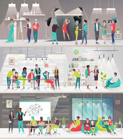 Concept van grote kunstruimte. Kunstmensen werken samen op een coöperatieve plek. Kunst kantoor. Discussie, presentatie, schilderen, ontwerpen, libreren, fotografie, lounge, vergadering. Platte vectorillustratie
