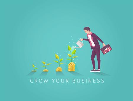Bedrijfsconcept investering in geldboom in vier stappen. Start en groei van het bedrijf. Zakenman drenken geldboom. Platte vectorillustratie