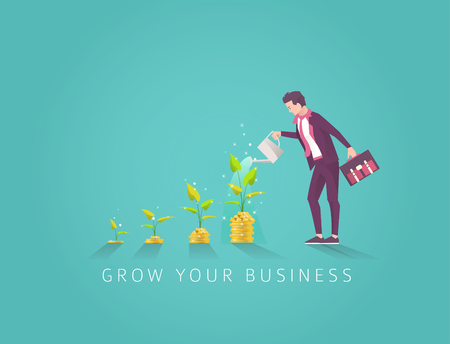 Business concept of investment in money tree in four step. Start up and growth of business. Businessman watering money tree. Vector flat illustration.
