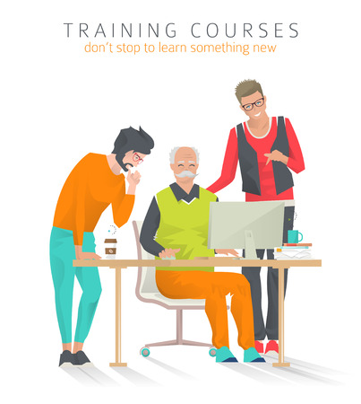 Concept of training courses for all ages. Concept of discussion.  Never too late to start study something new. Young man train and help senior man. Vector illustration. Illustration