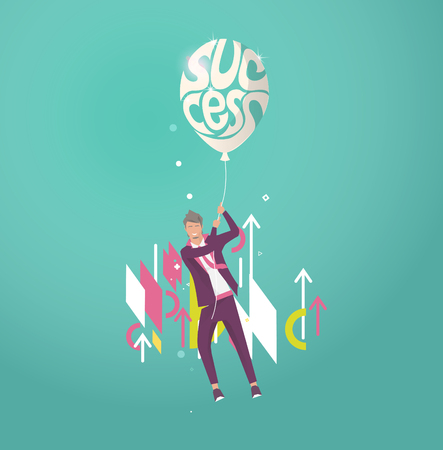Business concept of  businessman holding ball with typography success and flying away. Geometric style elements. Vector flat illustration.