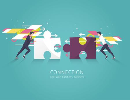 Concepto de negocio de solución, asociación, colaboración y soporte. Dos hombre de negocios combinan piezas de rompecabezas. Vector ilustración plana.