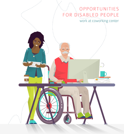Concept of training courses for all people. Disabled man has opportunity to learn something new or to work via internet.  Vector flat illustration. Illustration