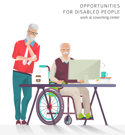 new opportunity: Concept of training courses for all people. Disabled man has opportunity to learn something new or to work via internet.  Vector flat illustration. Illustration