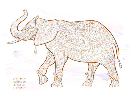 Patterned elephant on the grunge background. African, tattoo design. It may be used for design of a t-shirt, bag, postcard, a poster and so on.