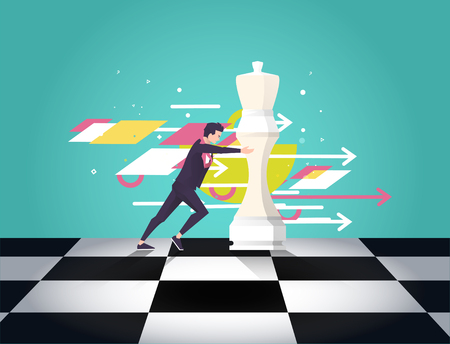 Business concept strategy. Leader choose the best strategic  way to move chess. Geometric elements. Vector flat illustration.