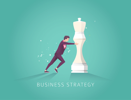 Business concept strategy. Leader choose the best strategic  way to move chess. Vector flat illustration.
