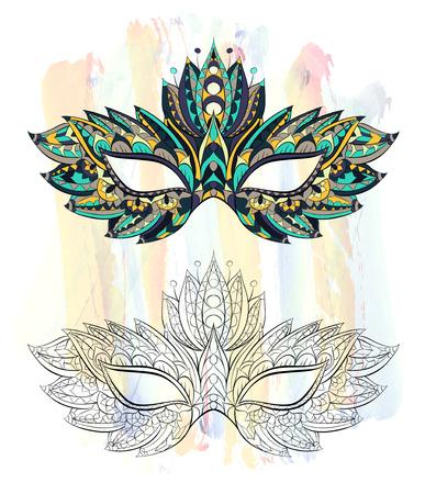グランジ背景にパターン化されたマスク。マルディグラ祭。タトゥーのデザイン。T シャツ、バッグ、ポストカード、ポスターのデザインなどなど使