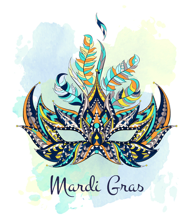 celtic background: Patterned mask on the grunge background. Mardi Gras festival. Tattoo design. It may be used for design of a t-shirt, bag, postcard, a poster and so on.