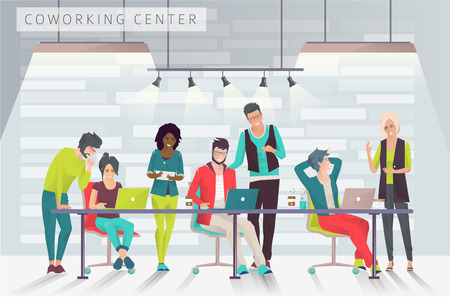 Concept of the coworking center. Business meeting. Multicultural team. Shared working environment. People talking and working  at the computers in the open space office. Flat design style.