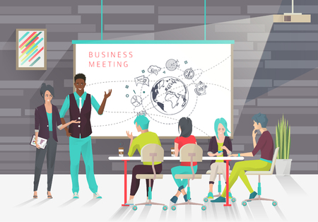 Concept of business presentation. Conference.  Exchange ideas and experience. Collaboration and discussion. Multicultural team. Vector illustration Çizim