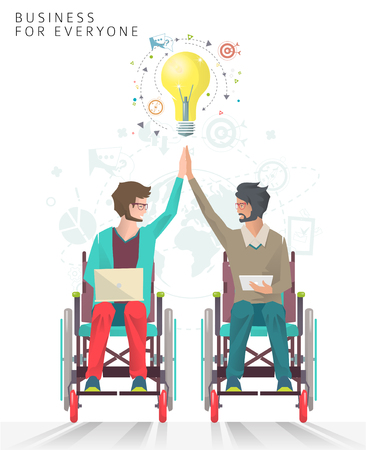 Concept of partnership between disabled people. Business for everyone. Vector flat illustration