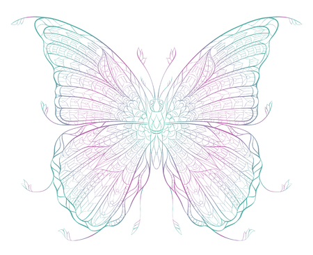 Patterned butterfly on the grunge background. Ornate moth. Papillon. Tattoo design.