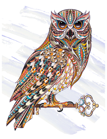 Patterned owl with key on the grunge background. Tattoo design. It may be used for design of a t-shirt, bag, postcard, a poster, coloring book and so on.