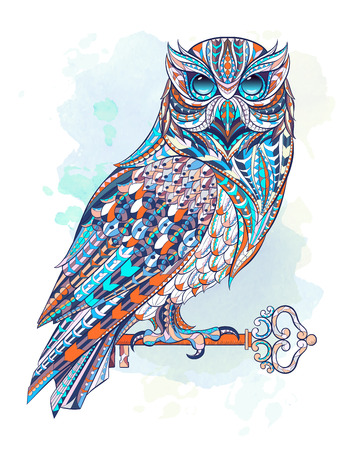 Patterned owl with key on the grunge background. Tattoo design.