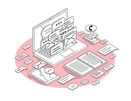 Isometric concept of workplace with laptop and office equipment. Social media. illustration.