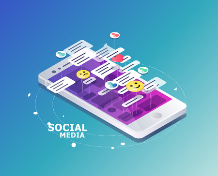Isometric concept with mobile phone and chat. Chatting: sending and receiving messages and sms. Online conversation.  Social network.