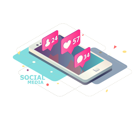 Isometric concept with mobile phone and push notification with likes, new comments, messages and followers. Set of social media notification with appreciation.