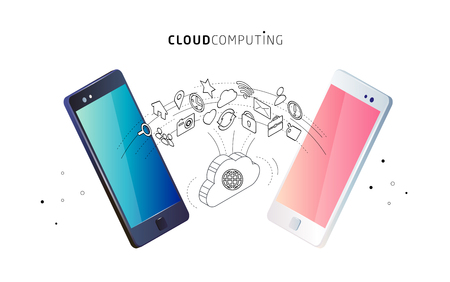 Isometric concept of cloud computing. Cloud network and services. Information exchange between cloud and phones.