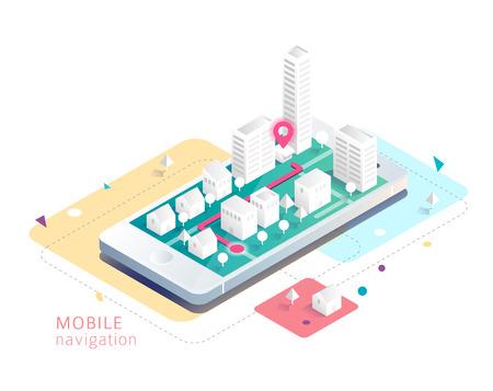 Isometrisch concept van mobiele navigatie. Smartphone met kaart en route. Stock Illustratie