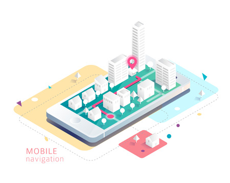 Isometric concept of mobile navigation. Smartphone with map and route.