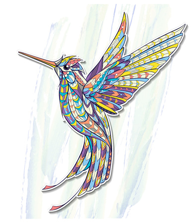 Patterned flying hummingbird on the grunge background. Tattoo design. It may be used for design of a t-shirt, bag, postcard, a poster and so on.