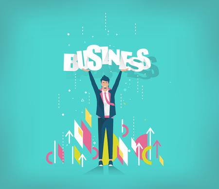 Business concept. Businessman holds letters business.  Geometric style elements.