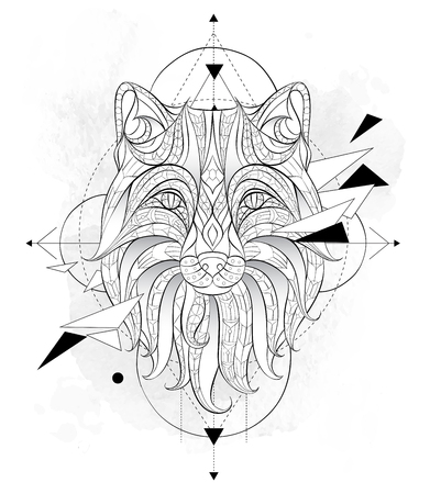 Patterned head of the fox with geometry on the grunge background. African, indian, totem, tattoo design. It may be used for design of a t-shirt, bag, postcard, a poster and so on.