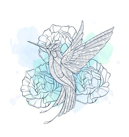 Gevormde vliegende kolibrie op de grungeachtergrond. Tattoo ontwerp. Het kan worden gebruikt voor het ontwerpen van een t-shirt, tas, briefkaart, een poster enzovoort.